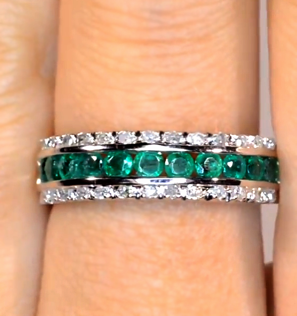 These are the 10 best emerald rings in the UK - Emerald diamond half eternity ring