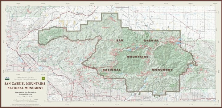Map of the new San Gabriel  Mountains National Monument.