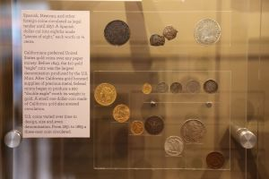 Collection of coins on display representing different forms of tender.