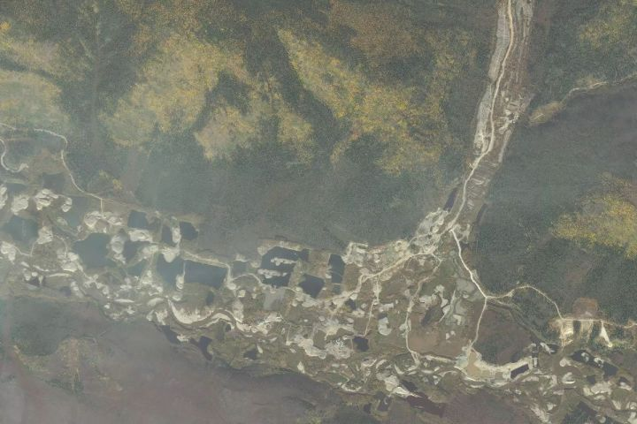 Satellite map view of the Indian River Mine in the Yukon, Canada mined by the Hoffman crew over Season 3 of the Gold Rush reality TV series from Discovery Channel.