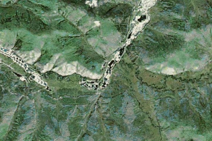 Satellite map view of the Scribner Creek Mine in the Yukon, Canada mined by the Parker Schnabel crew over Season 4 of the Gold Rush reality TV series from Discovery Channel.