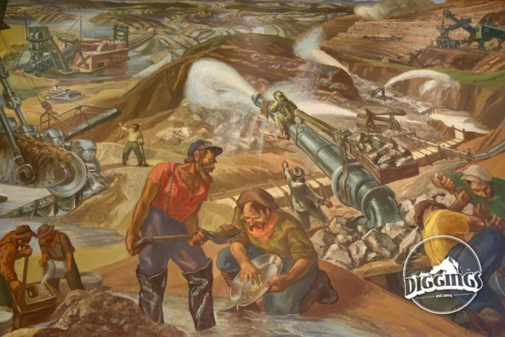 Mining history mural by Irwin Hoffman at the Colorado School of Mines Geology Museum