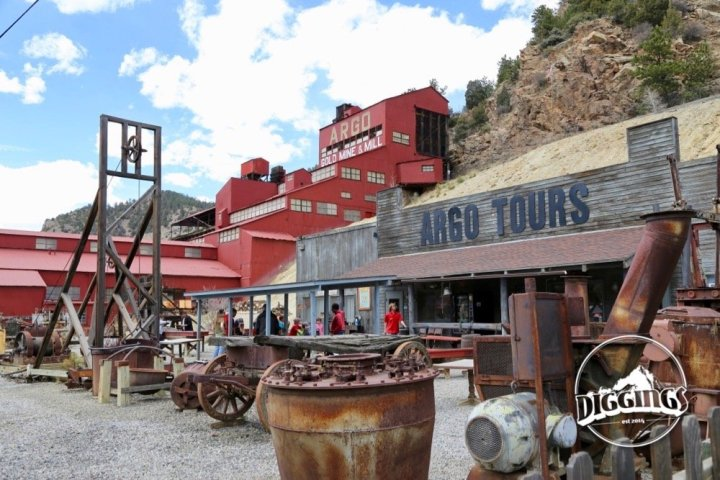 Outdoor mining equipment collection at the Argo Gold Mine & Mill, Idaho Springs, Colorado