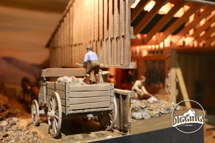 Shoveling ore into a mill diorama at the National Mining Hall of Fame & Museum tells the story of mining, its people, and its importance to the American public.