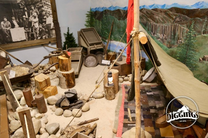 Model prospector's camp at the Idaho Museum of Mining & Geology