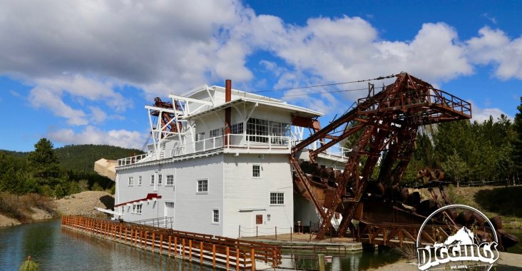 Retired dredge at the Sumpter Valley Dredge State Heritage Area