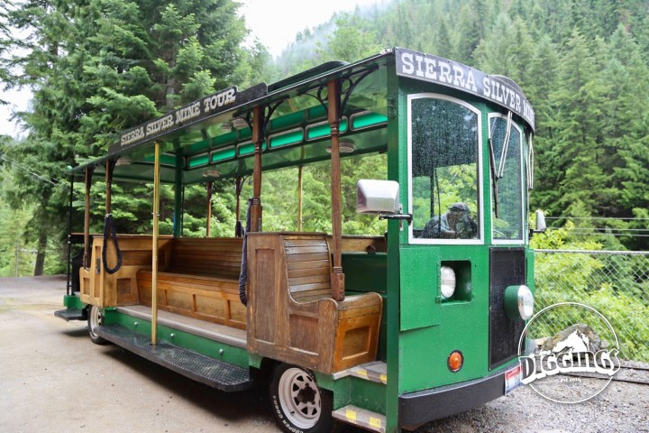 Tour guests are ferried from downtown Wallace to the Sierra Silver Mine in this modified green trolly.