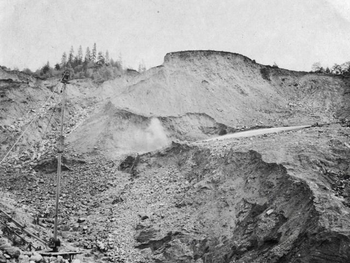 Hydraulic giants (monitors) at La Grange Mine near Weaverville
