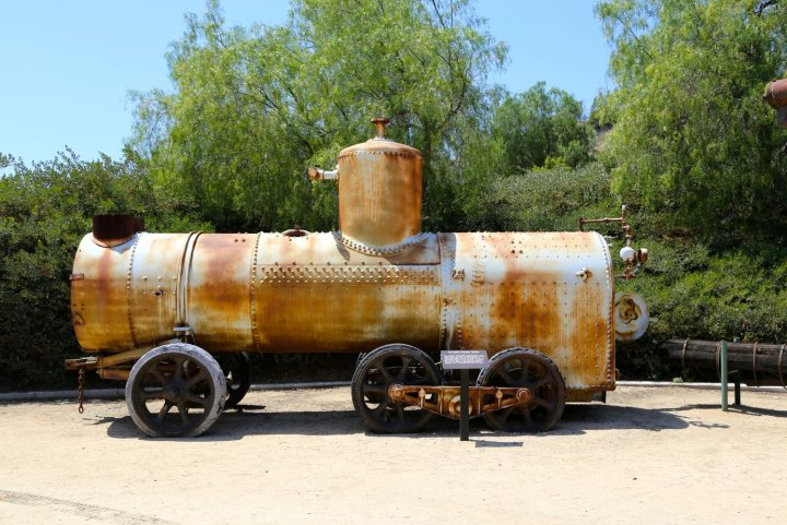 Portable Steam Boiler on display outside the Olinda Oil Museum Field House.