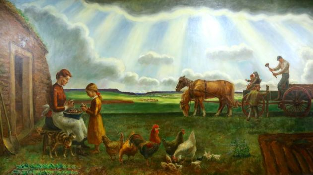 John Steuart Curry The Homesteading and Building of Barbed Wire Fences Oil on canvas, 1939