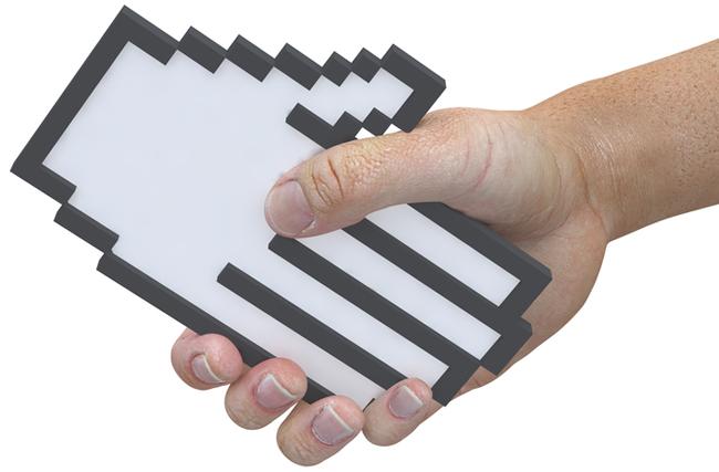 Handshake pixel cursor tech friendly user shake hands