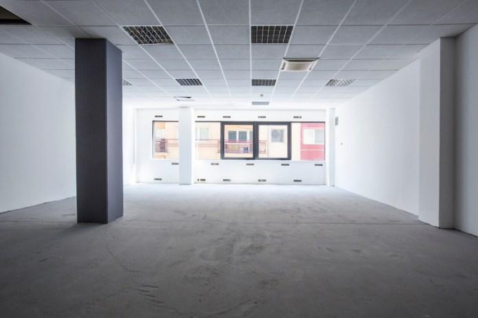 Empty concrete hall interior