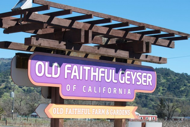 Road side sign announcing: Old Faithful Geyser of California.