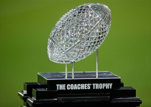 Nov. 24, 2012; Los Angeles, CA, USA; A detailed view of the Coaches Trophy on the sideline of the Los Angeles Memorial Coliseum during the game between the USC Trojans and the Notre Dame Fighting Irish. Notre Dame won 22-13. (Matt Cashore-USA TODAY Sports)