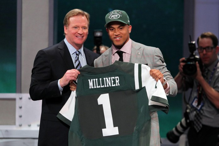 Apr 25, 2013; New York, NY, USA; NFL commissioner Roger Goodell introduces cornerback Dee Milliner (Alabama) as the ninth overall pick of the 2013 NFL Draft by the New York Jets at Radio City Music Hall. Mandatory Credit: Brad Penner-USA TODAY Sports