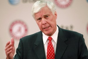 Mar 22, 2013; Tuscaloosa, AL, USA; Bill Battle speaks to the media after being introduced as the athletic director for Alabama Crimson Tide at the Mal M. Moore Athletic Building. Mandatory Credit: Marvin Gentry-USA TODAY Sports
