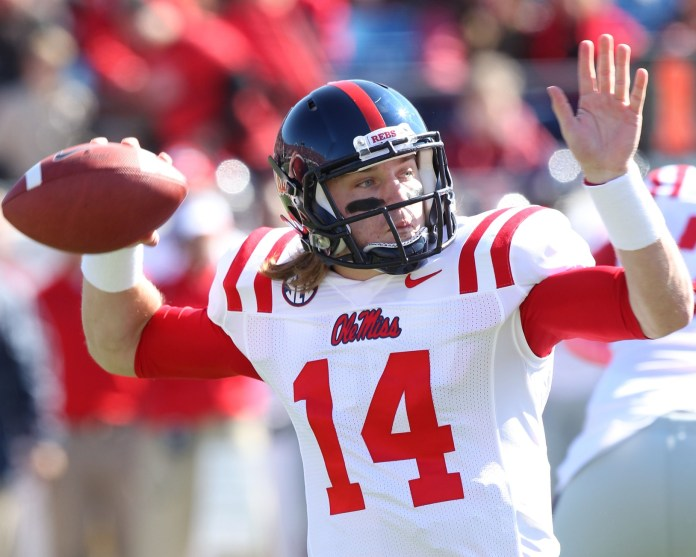 Oct 27, 2012; Little Rock, AR, USA; Ole Miss Rebels quarterback Bo Wallace (14) looks to pass against the Arkansas Razorbacks at War Memorial Stadium. Photo Credit: Nelson Chenault-USA TODAY Sports