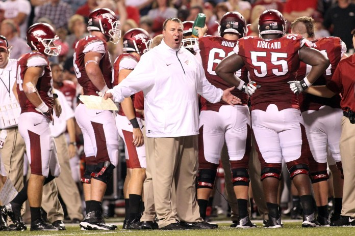 Sep 28, 2013; Fayetteville, AR, USA; Arkansas Razorbacks head coach Bret Bielema reacts to a call during the second quarter against the Texas A&M Aggies at Donald W. Reynolds Razorback Stadium. Mandatory Credit: Nelson Chenault-USA TODAY Sports