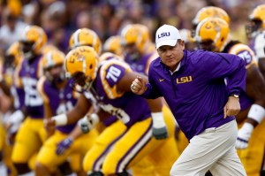 Sep 27, 2014; Baton Rouge, LA, USA; LSU Tigers head coach Les Miles before a game against the New Mexico State Aggies at Tiger Stadium. Mandatory Credit: Derick E. Hingle-USA TODAY Sports