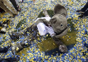 Dec 6, 2014; Atlanta, GA, USA; Alabama Crimson Tide mascot Big Al celebrates in confetti after their win over the Missouri Tigers in the 2014 SEC Championship at the Georgia Dome. Alabama beat Missouri 42-13. Mandatory Credit: Jason Getz-USA TODAY Sports