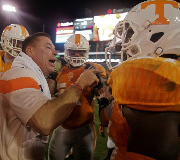 Jan 2, 2015; Jacksonville, FL, USA; Tennessee Volunteers head coach Butch Jones in the fourth quarter of their 2015 TaxSlayer Bowl game against the Iowa Hawkeyes at EverBank Field. The Tennessee Volunteers beat the Iowa Hawkeyes 45-28. Mandatory Credit: Phil Sears-USA TODAY Sports