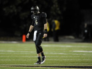 Nov 29, 2014; Nashville, TN, USA; Vanderbilt Commodores quarterback Patton Robinette (4) reacts after a turnover on downs on the last possession of the game against the Tennessee Volunteers at Vanderbilt Stadium. The Volunteers won 24-17. Mandatory Credit: Christopher Hanewinckel-USA TODAY Sports