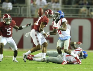 Sep 19, 2015; Tuscaloosa, AL, USA; Mississippi Rebels wide receiver Quincy Adeboyejo (8) catches a deflected ball for a touchdown at Bryant-Denny Stadium. The Rebels defeated the Tide 43-37. Mandatory Credit: Marvin Gentry-USA TODAY Sports