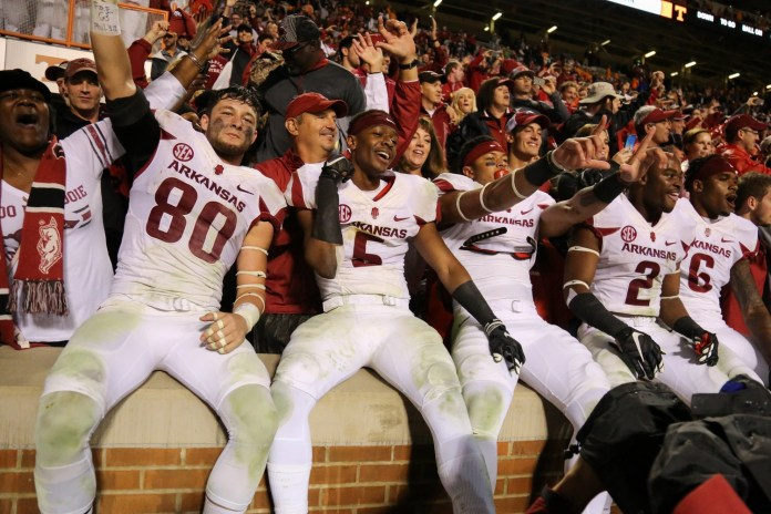 Oct 3, 2015; Knoxville, TN, USA; The Arkansas Razorbacks celebrate after beating the Tennessee Volunteers at Neyland Stadium. Arkansas won 24-20. Mandatory Credit: Randy Sartin-USA TODAY Sports