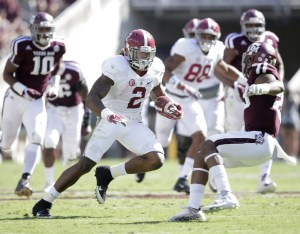 Oct 17, 2015; College Station, TX, USA; Alabama Crimson Tide running back Derrick Henry (2) makes a long run for a touchdown against the Texas A&M Aggies in the first quarter at Kyle Field. Mandatory Credit: Erich Schlegel-USA TODAY Sports