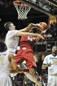 Jan 16, 2016; Nashville, TN, USA; Vanderbilt Commodores forward Luke Kornet (3) fouls out on this attempted block against Alabama Crimson Tide forward Donta Hall (35) during the second half at Memorial Gym. Vanderbilt won 71-63. Mandatory Credit: Jim Brown-USA TODAY Sports