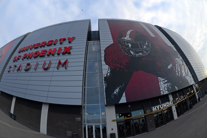 Jan 10, 2016; Glendale, AZ, USA; A general view of University Of Phoenix Stadium a day before the CFP National Championship game between the Alabama Crimson Tide and Clemson Tigers. Mandatory Credit: Joe Camporeale-USA TODAY Sports