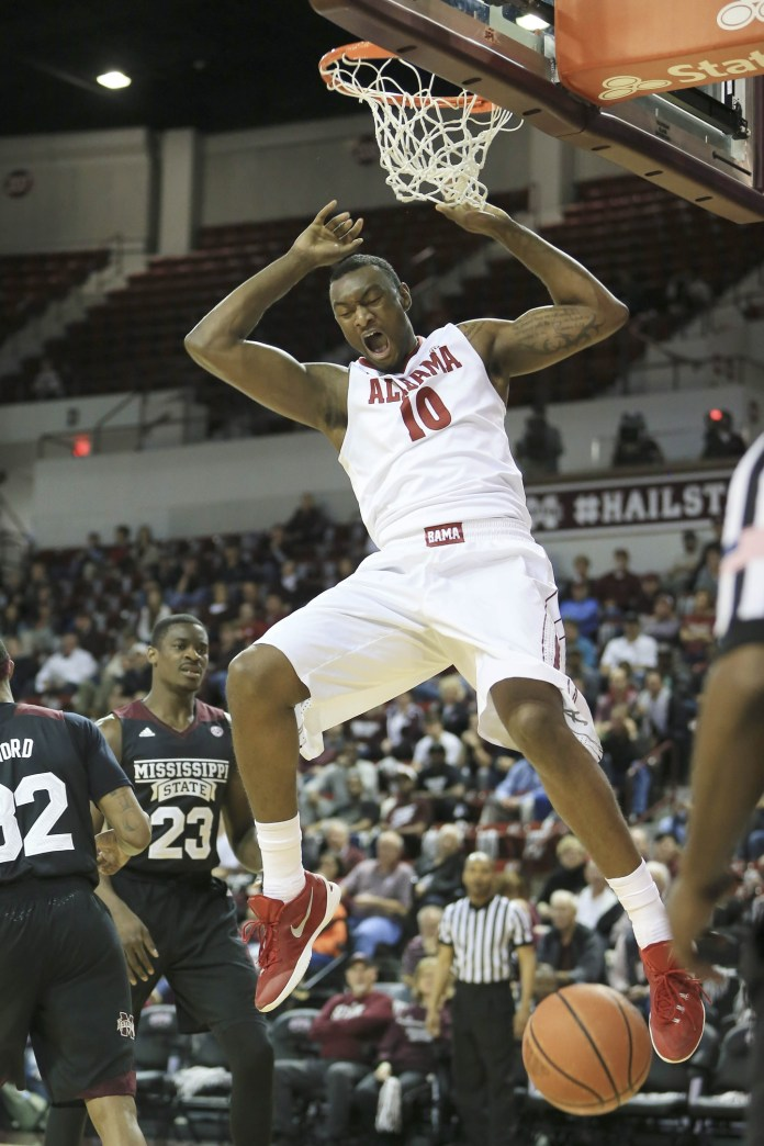 Feb 2, 2016; Starkville, MS, USA; Alabama Crimson Tide forward Jimmie Taylor (10) reacts after making a shot during the first half against the Mississippi State Bulldogs at Humphrey Coliseum. Mandatory Credit: Spruce Derden-USA TODAY Sports