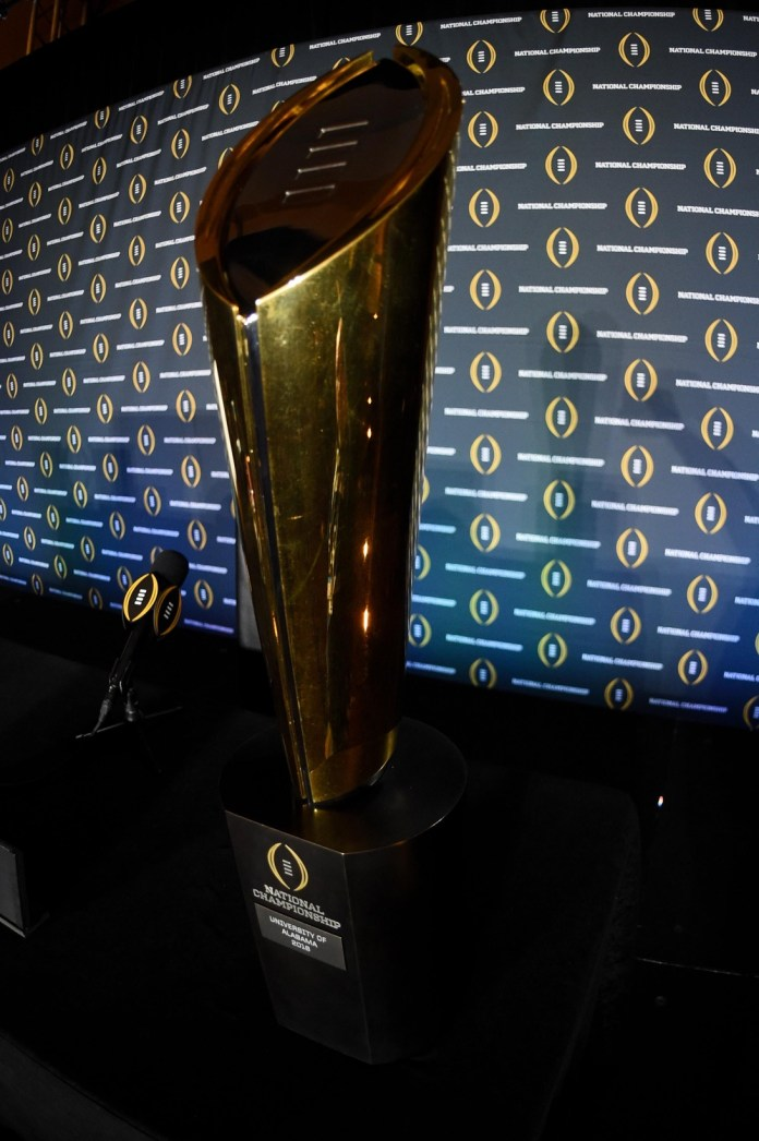 Jan 12, 2016; Scottsdale, AZ, USA; General view of the national championship trophy prior to a press conference at JW Marriott Camelback Inn. Mandatory Credit: Matt Kartozian-USA TODAY Sports