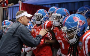 Jan 1, 2016; New Orleans, LA, USA; Mississippi Rebels head coach Hugh Freeze prepares to take his team onto the field to play the Oklahoma State Cowboys in the 2016 Sugar Bowl at the Mercedes-Benz Superdome. Mandatory Credit: Chuck Cook-USA TODAY Sports