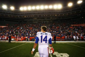 Apr 8, 2016; Gainesville, FL, USA; Florida Gators quarterback Luke Del Rio (14) walks off the field after the Orange and Blue game at Ben Hill Griffin Stadium. Blue won 38-6. Mandatory Credit: Logan Bowles-USA TODAY Sports
