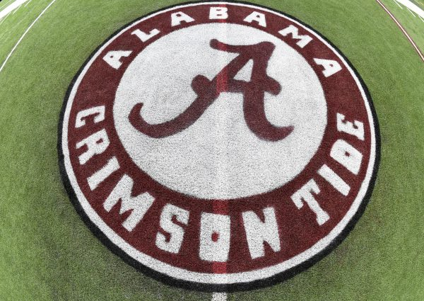 Dec 4, 2015; Atlanta, GA, USA; The Alabama Crimson Tide logo on the playing field at the Georgia Dome in preparation for the SEC Championship Saturday. Mandatory Credit: John David Mercer-USA TODAY Sports