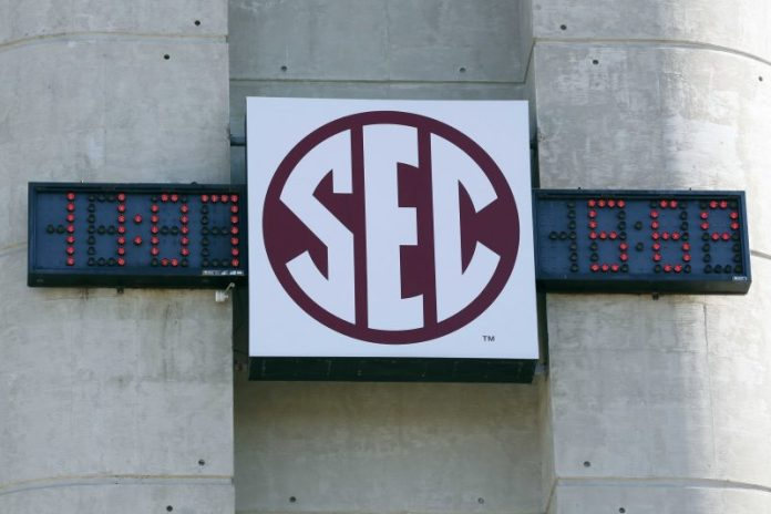 Oct 19, 2013; College Station, TX, USA; A general view of the SEC logo before the game between theTexas A&M Aggies and the Auburn Tigers at Kyle Field. Mandatory Credit: Soobum Im-USA TODAY Sports