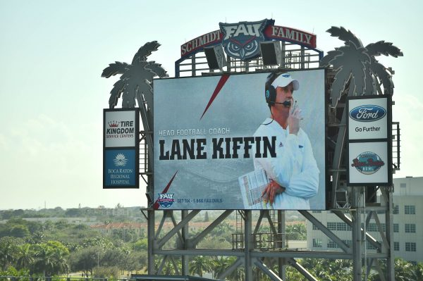 Dec 13, 2016; Boca Raton, FL, USA; A general view of the scoreboard welcoming new Florida Atlantic Owls head coach Lane Kiffin at FAU Football Stadium. Mandatory Credit: Jasen Vinlove-USA TODAY Sports