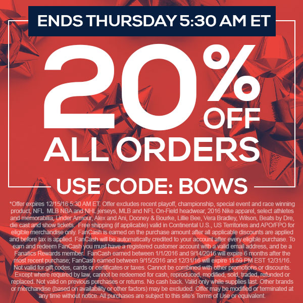 Hurry, Final Day To Save 20% -SHOP NOW - Ends 12-15-2016 @ 5:30AM ET