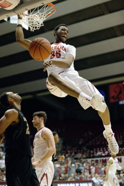 Jan 18, 2017; Tuscaloosa, AL, USA; Alabama Crimson Tide forward Donta Hall (35) dunks the ball against Missouri Tigers during the second half at Coleman Coliseum. The Tide defeated the Tigers 68-56. Mandatory Credit: Marvin Gentry-USA TODAY Sports
