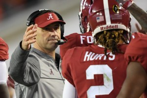 Jan 9, 2017; Tampa, FL, USA; Alabama Crimson Tide offensive coordinator Steve Sarkisian congratulates wide receiver Calvin Ridley (3) after his fourth quarter touchdown against the Clemson Tigers in the 2017 College Football Playoff National Championship Game at Raymond James Stadium. Mandatory Credit: John David Mercer-USA TODAY Sports