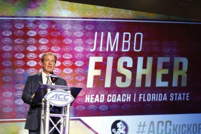 Jul 13, 2017; Charlotte, NC, USA; Florida State Seminoles head coach Jimbo Fisher speaks to the media during the ACC Kickoff at the Westin Charlotte. Mandatory Credit: Jeremy Brevard-USA TODAY Sports