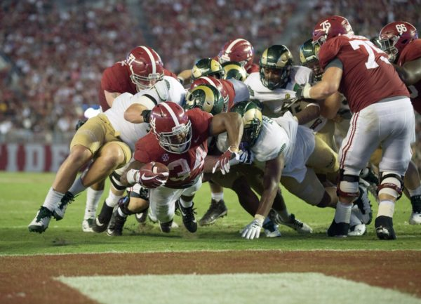 Sep 16, 2017; Tuscaloosa, AL, USA; Alabama Crimson Tide running back Damien Harris (34) scores a touchdown against Colorado State Rams during the third quarter at Bryant-Denny Stadium. Mandatory Credit: Marvin Gentry-USA TODAY Sports