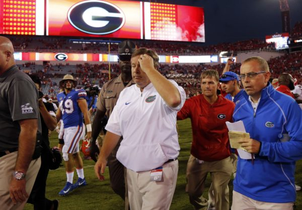 Oct 28, 2017; Jacksonville, FL, USA; Florida Gators head coach Jim McElwain walks off the field as he lost to the Georgia Bulldogs at EverBank Field. Mandatory Credit: Kim Klement-USA TODAY Sports