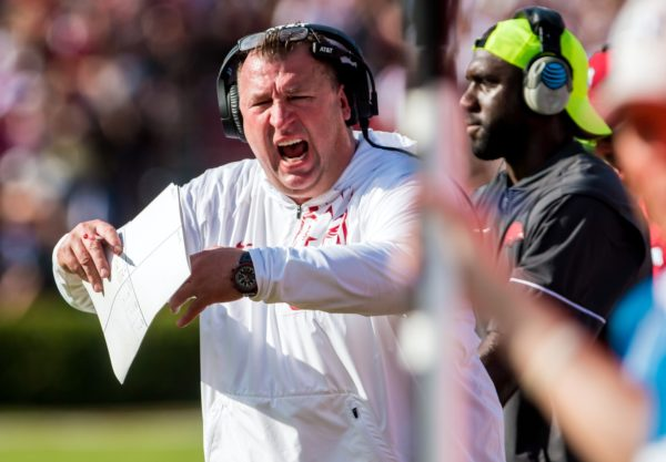 Oct 7, 2017; Columbia, SC, USA; Arkansas Razorbacks head coach Bret Bielema disputes a call against the South Carolina Gamecocks in the first quarter at Williams-Brice Stadium. Mandatory Credit: Jeff Blake-USA TODAY Sports