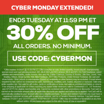 TideFansStore.com Cyber Monday Extended! Ends Tuesday 11/28 @ 1159pm ET