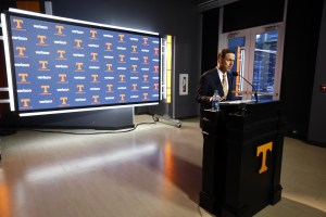 Nov 12, 2017; Knoxville, TN, USA; University of Tennessee athletic director John Currie speaks during a press conference announcing the firing of head football coach Butch Jones. Mandatory Credit: Wade Payne/Knoxville News Sentinel via USA TODAY Sports