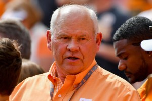 Oct 14, 2017; Knoxville, TN, USA; Tennessee Volunteers former head coach Phillip Fulmer during the game against the South Carolina Gamecocks at Neyland Stadium. Mandatory Credit: Randy Sartin-USA TODAY Sports