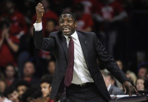 Dec 9, 2017; Tucson, AZ, USA; Alabama Crimson Tide head coach Avery Johnson signals during the second half against the Arizona Wildcats at McKale Center. Mandatory Credit: Casey Sapio-USA TODAY Sports