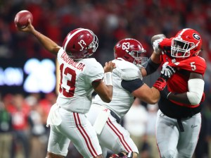 Jan 8, 2018; Atlanta, GA, USA; Alabama Crimson Tide quarterback Tua Tagovailoa (13) against the Georgia Bulldogs in the 2018 CFP national championship college football game at Mercedes-Benz Stadium. Mandatory Credit: Mark J. Rebilas-USA TODAY Sports